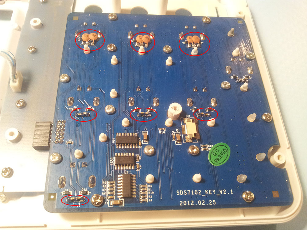 Owon keyboard pcb backside